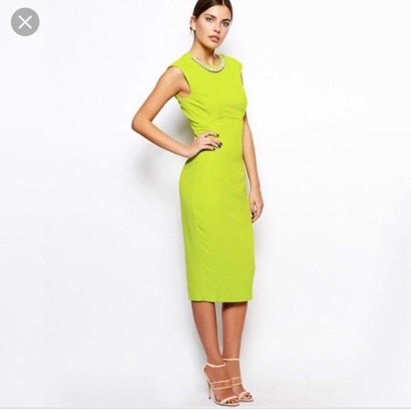 Ted Baker London Dresses & Skirts - Ted Baker London Erolla Midi Lime Green Neon Dres